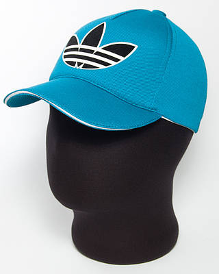 """Бейсболка спортивная """"Adidas"""" бирюзового цвета с белым кантом и большой эмблемой"""