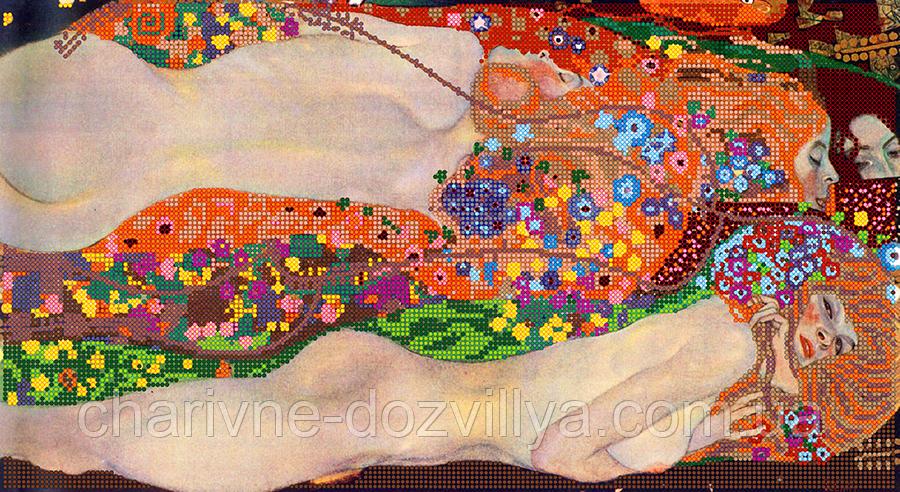 """Схема для вышивки бисером на атласе (картина) """"Водяные змеи"""". Художник Густав Климт"""