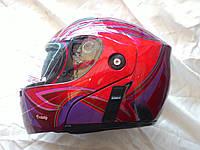 Мотошлем женский FGN трансформер с очками, flip-up, красный