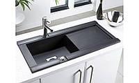 Гранитная мойка с одной чашей и крылом в кухню LONGRAN PREMIUM GEO 1.0 Volcano Black (Granite) черного цвета