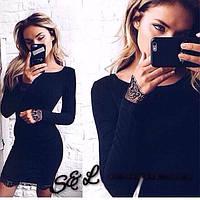 Изысканное черное платье с кружевом