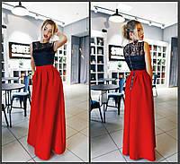Платье в пол с атласом