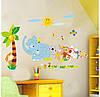 Цветные наклейки на стену звери декор для детской комнаты, фото 2