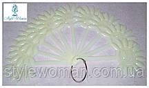 Типсы для образцов на кольце ромашка, для палитры лаков, типсы веер белые 10шт. по 12 ноготков