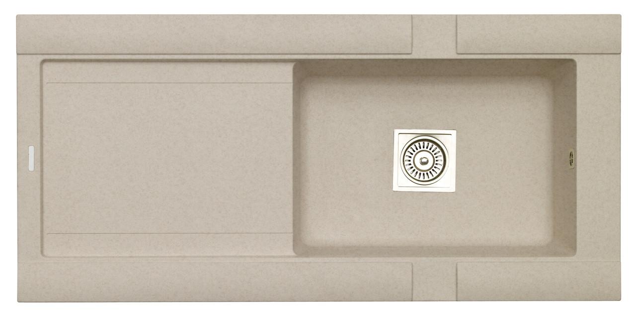 Гранитная врезная кухонная мойка с крылом LONGRAN PREMIUM GEO 1.0 Island Sand (Granite)