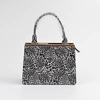 Женская красивая сумочка под кожу змеи леопардовая черно-белая