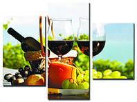 """Модульная картина из 3-х частей """"Вино и фрукты"""""""
