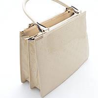 Женская деловая сумочка бежевая лаковая
