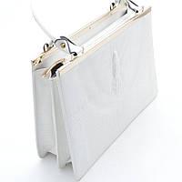Женская стильная сумочка под кожу крокодила белая