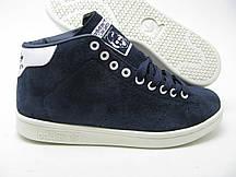 Мужские кроссовки Adidas Stan smith Blue замшевые