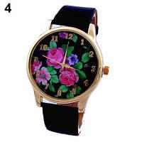 Наручные часы с розами на циферблате черные, фото 1