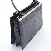 Женская деловая сумочка черная с узором
