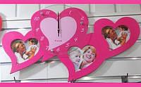 Романтические Настенные Часы с Фоторамками в Виде Сердец