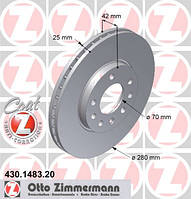 Диск (диски) тормозной (тормозные) 5 болтов крепления колеса передний (передние) 1 шт 280 х 25 mm Zimmermann 0