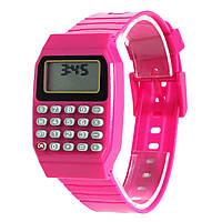 Детские наручные Часы-Калькулятор розовые