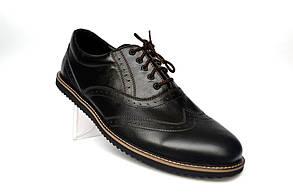 Черные броги полуботинки мужские кожаные Rosso Avangard Ferraro Black Pelle