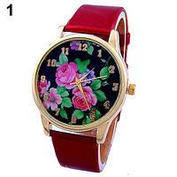 Наручные часы с розами на циферблате красные