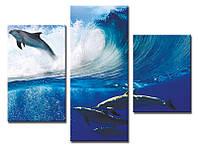 """Модульная картина из 3-х частей """"Дельфин над волной"""""""