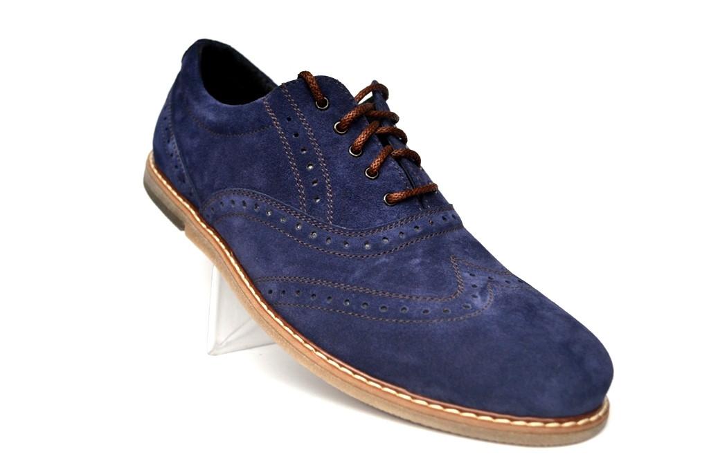0e5231aa9 Синие броги туфли оксфорды мужские замшевые Rosso Avangard Romano Blu Vel  демисезонные