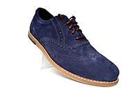 Синие броги туфли оксфорды мужские замшевые Rosso Avangard Romano Blu Vel демисезонные