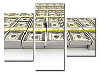 "Модульная картина из 3-х частей ""Доллар. 10 тысяч"""
