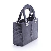 Женская маленькая сумочка Dior mini крокодил черная