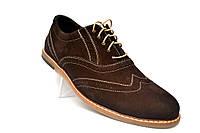 Коричневые броги туфли оксфорды мужские замшевые Rosso Avangard Romano Brown Vel демисезонные