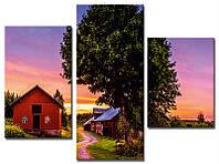 """Модульная картина из 3-х частей """"Домик и дерево на закате"""""""