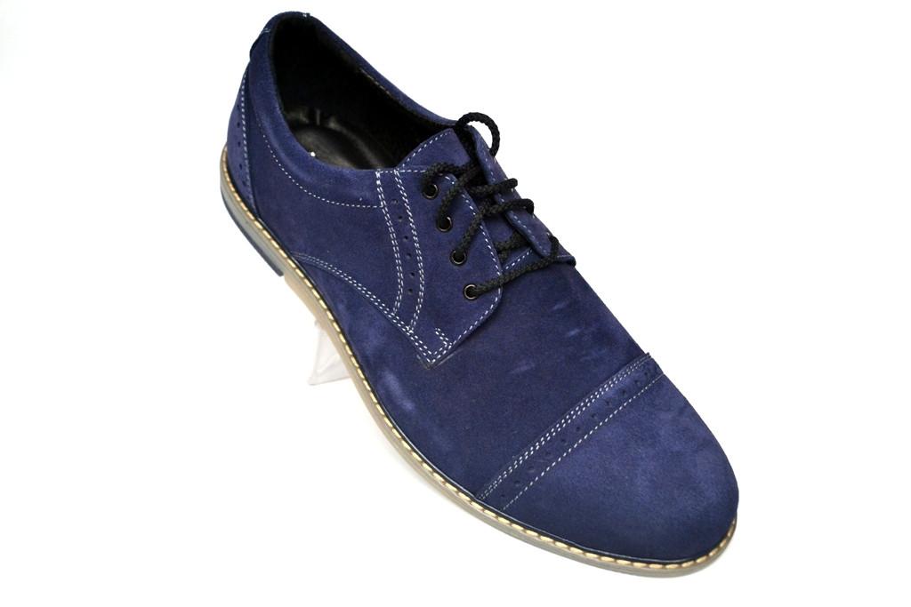 Синие броги полуботинки мужские замшевые Rosso Avangard DeRoma Blu Vel