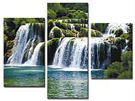"Модульная картина из 3-х частей ""Каскад водопадов"""