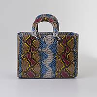 Женская сумка в стиле Dior цветная змея