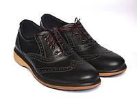 Черные полуботинки мужские броги кожаные Rosso Avangard Rizzi Black Pelle