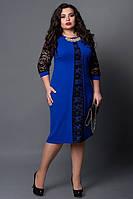Нарядное платье 505-7 с кружевом ЕЛЕКТРИК С ЧЕРНЫМ . разм 50, фото 1