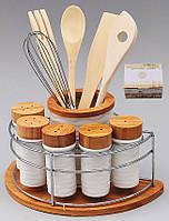 Подставка для кухонных принадлежностей и 5 баночек для специй и приправ на бамбуковой подставке