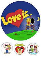 Вафельная и сахарная картинка Love is