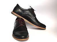 Черные полуботинки мужские броги кожаные Rosso Avangard DeRoma Blu Pelle
