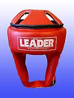 Шлем кикбоксинг LEADER / Винил /  M, Красный