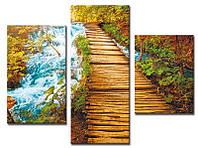 "Модульная картина из 3-х частей ""Мост у водопада"""