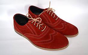 Красные броги полуботинки мужские замшевые Rosso Avangard Romano Red Vel
