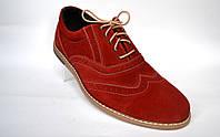 Красные броги туфли оксфорды мужские замшевые Rosso Avangard Romano Red Vel демисезонные