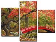 """Модульная картина из 3-х частей """"Мостик в лесу"""""""