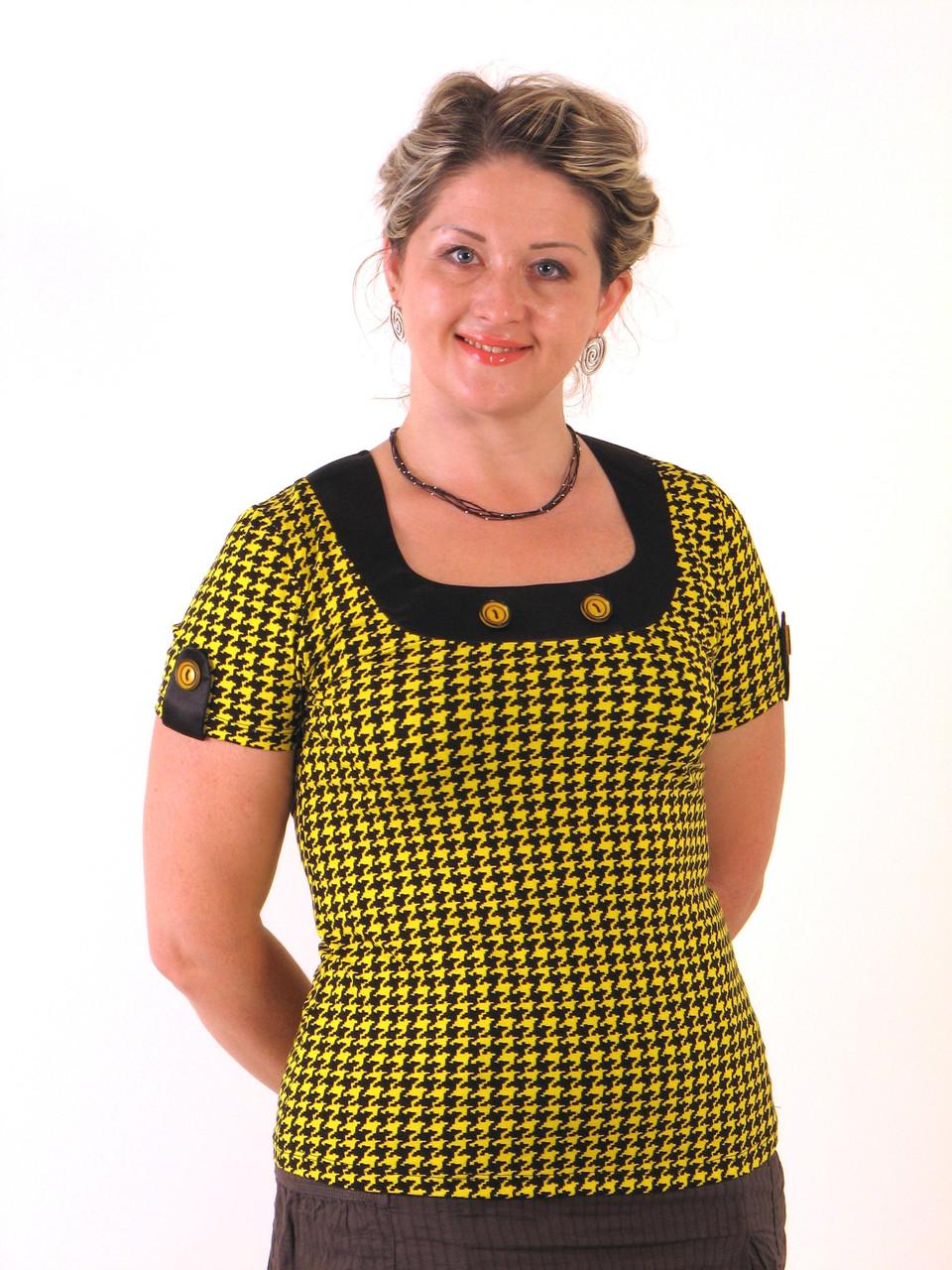 Кофточка блузка желтая трикотажная с пуговицами на кокетке . БЛ 575440