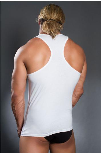 Чоловіча майка-борцовка біла бавовна розмір L Doreanse 2070