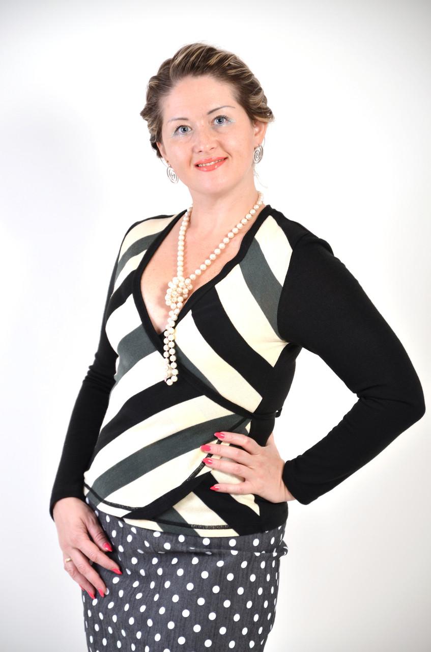 Блуза-жакет в полоску теплый , вязаный трикотаж.
