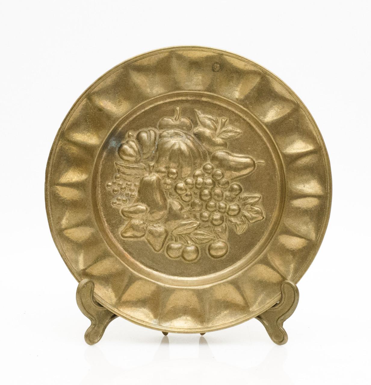 Старая настенная тарелка, бронза, Германия, 14,5 см