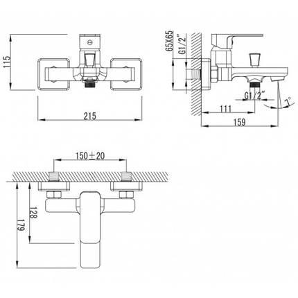 BILOVEC смеситель для ванны, хром, 35мм, фото 2