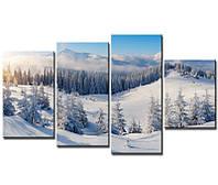 """Модульная картина из 4-х частей """"Снежные вершины"""""""