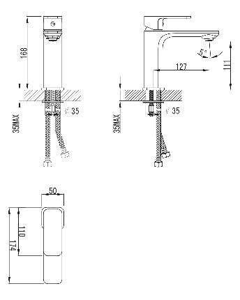 BILOVEC смеситель для раковины,хром, 35мм, фото 2