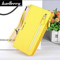 Клатч для женщин Baellerry Italia Classic желтый и серьги в подарок, фото 1