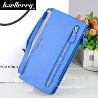 Стильный женский кошелек Baellerry Italia Classic (Баелери Италия Класик) портмоне, клатч, синий + серьги , фото 1